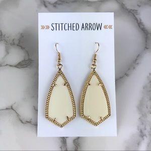 Jewelry - Gold & Cream Kite Metal Acrylic Drop Earrings
